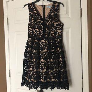Beautiful black sleeveless lace dress size L